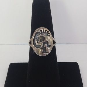 Kokopelli Sterling Kachina Ring 6.25 Native Indian